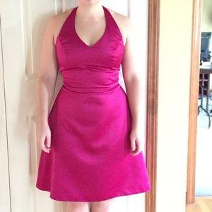 Simple purple pink knee length dress